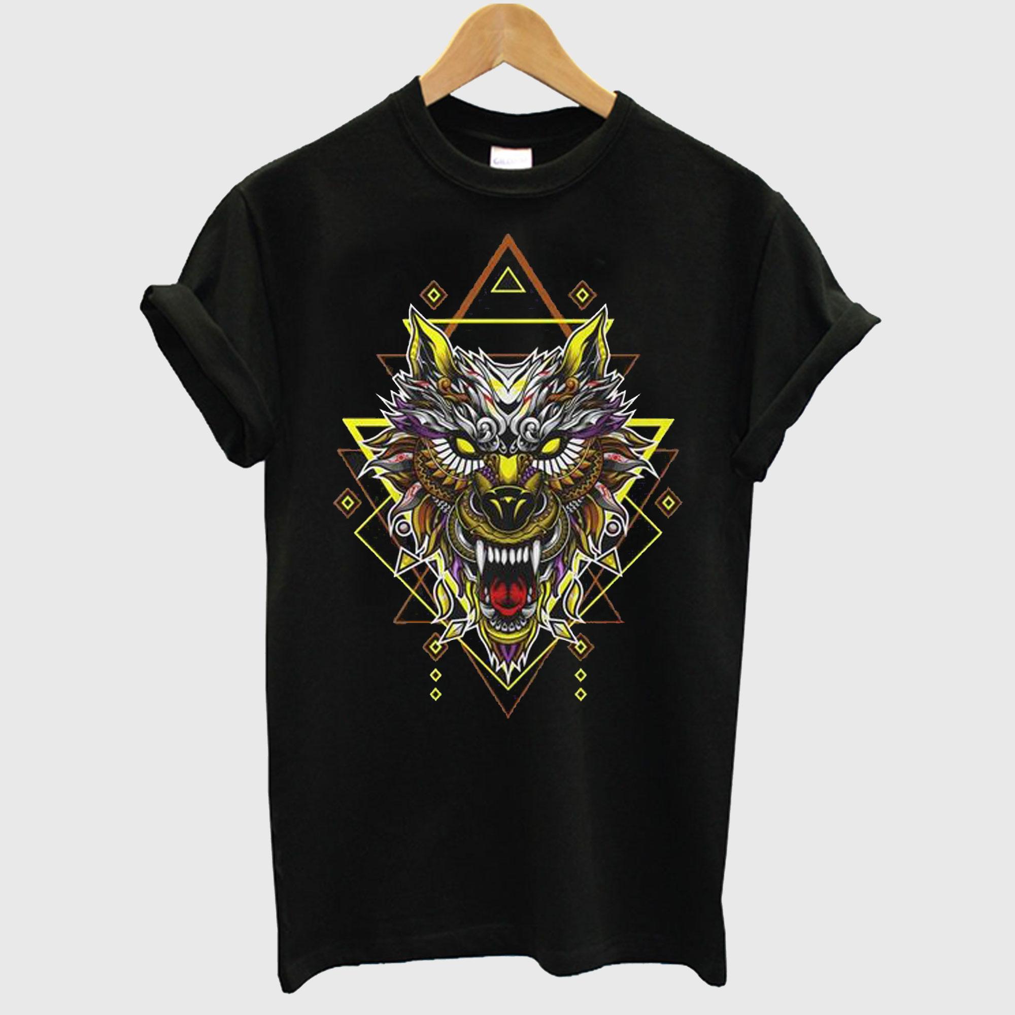 Wolf Head Geometric T-shirt