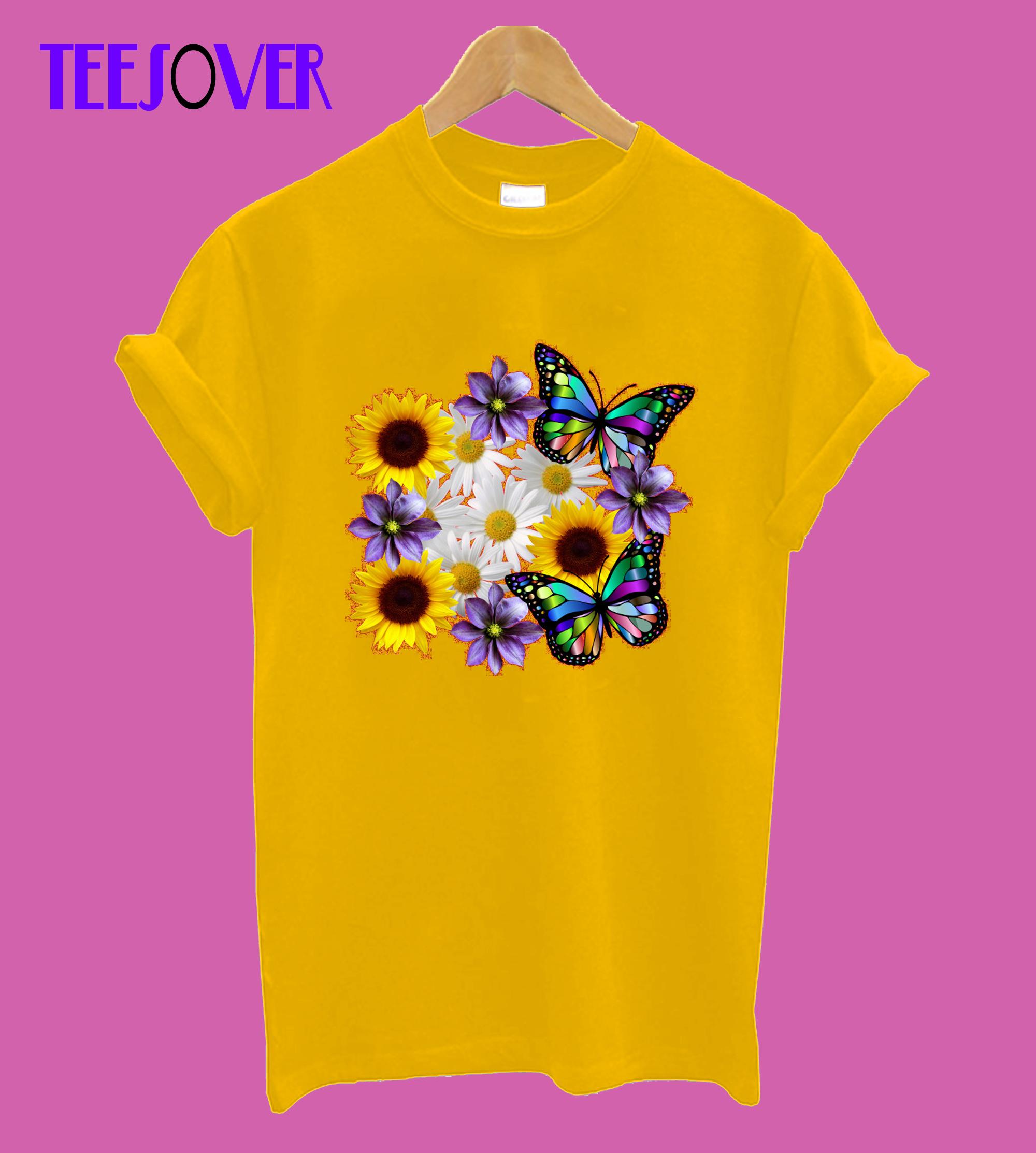 Butterflies Sunflowers Daisies T-Shirt